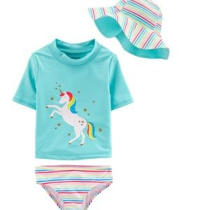 NWT Carter's 3 piece unicorn toddler swimsuit 3T
